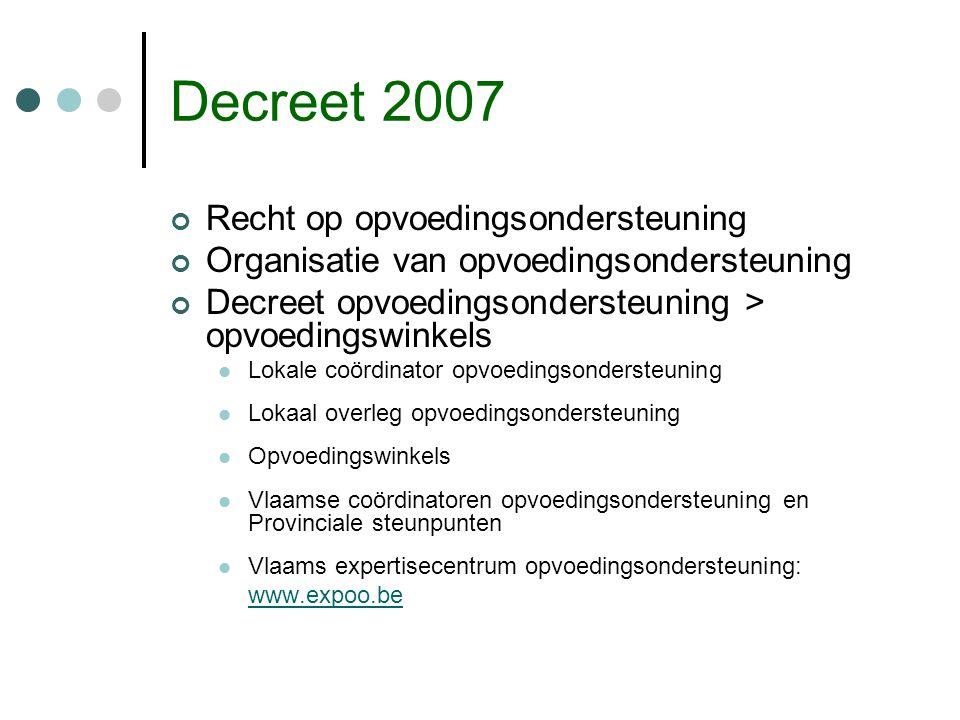Decreet 2007 Recht op opvoedingsondersteuning Organisatie van opvoedingsondersteuning Decreet opvoedingsondersteuning > opvoedingswinkels Lokale coörd