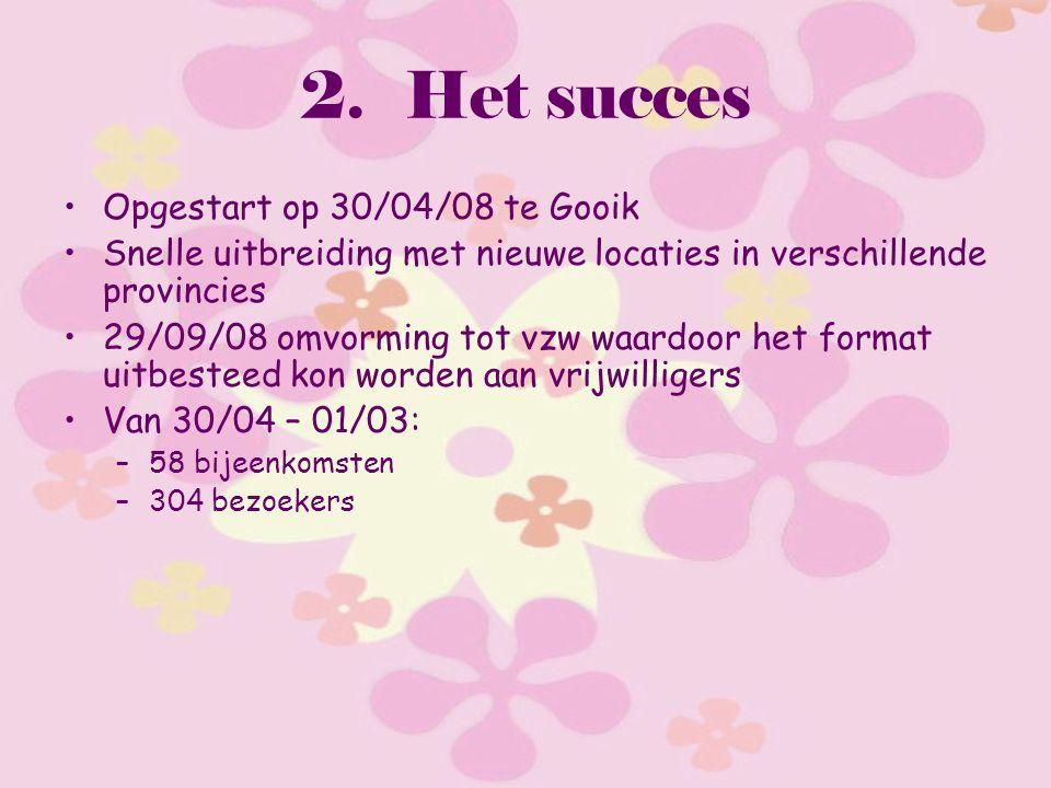 2.Het succes Opgestart op 30/04/08 te Gooik Snelle uitbreiding met nieuwe locaties in verschillende provincies 29/09/08 omvorming tot vzw waardoor het