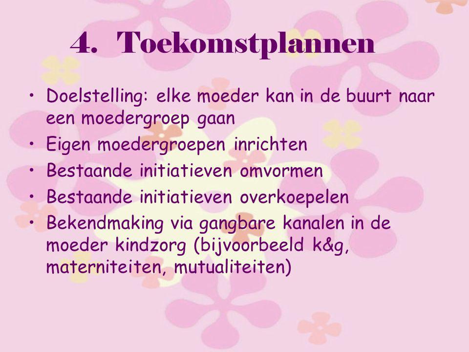 4.Toekomstplannen Doelstelling: elke moeder kan in de buurt naar een moedergroep gaan Eigen moedergroepen inrichten Bestaande initiatieven omvormen Be
