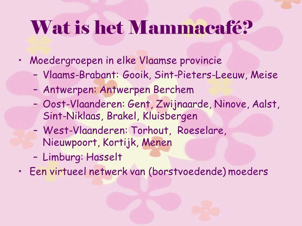 Wat is het Mammacafé? Moedergroepen in elke Vlaamse provincie –Vlaams-Brabant: Gooik, Sint-Pieters-Leeuw, Meise –Antwerpen: Antwerpen Berchem –Oost-Vl