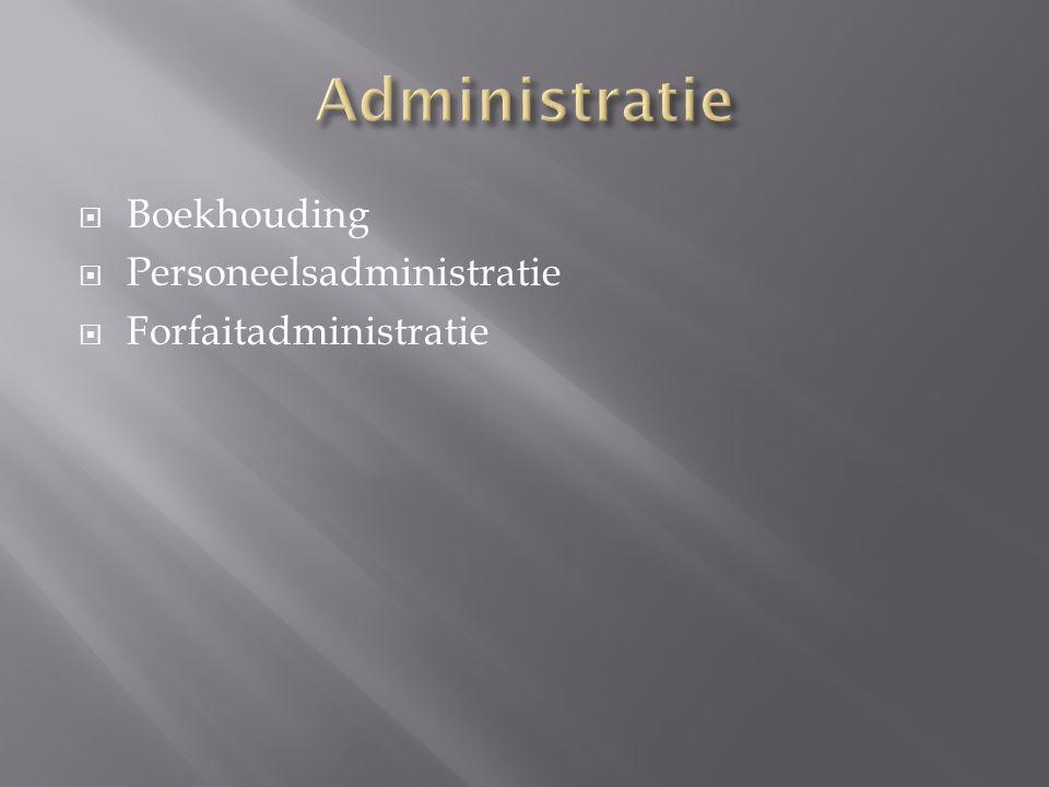  Boekhouding  Personeelsadministratie  Forfaitadministratie
