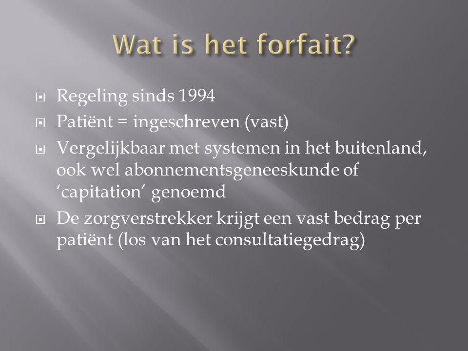  Regeling sinds 1994  Patiënt = ingeschreven (vast)  Vergelijkbaar met systemen in het buitenland, ook wel abonnementsgeneeskunde of 'capitation' g