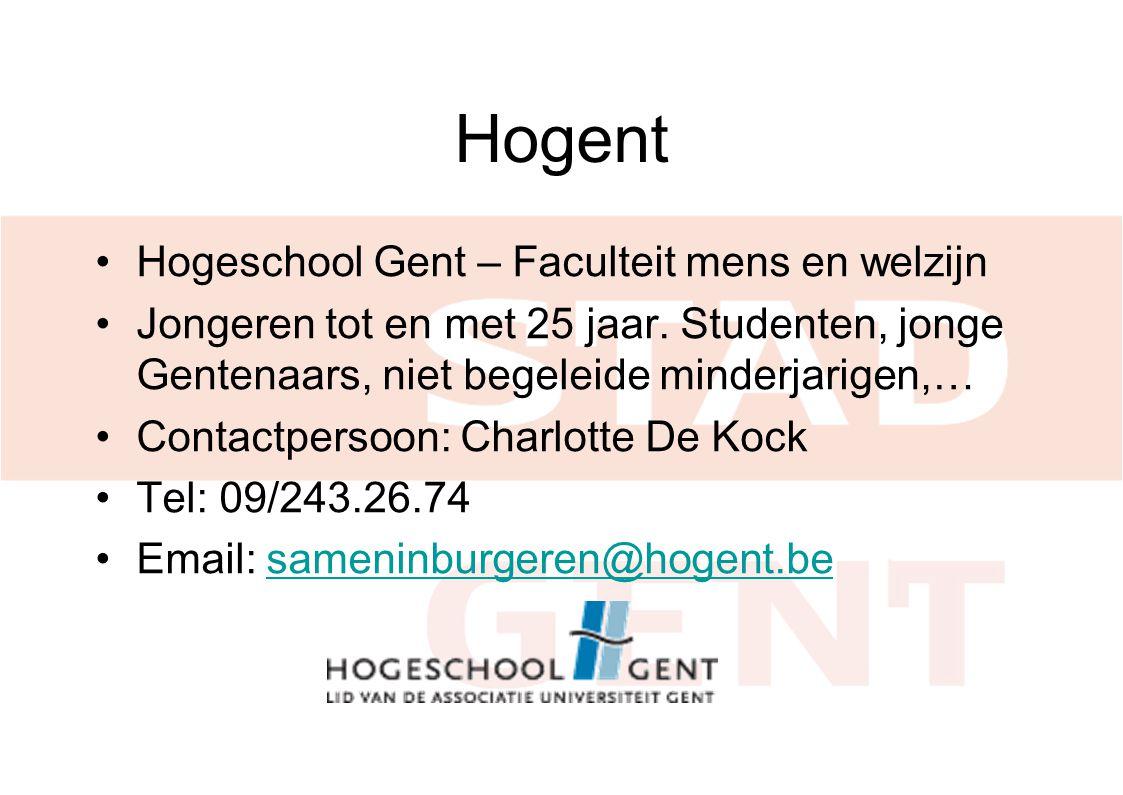 Hogent Hogeschool Gent – Faculteit mens en welzijn Jongeren tot en met 25 jaar.