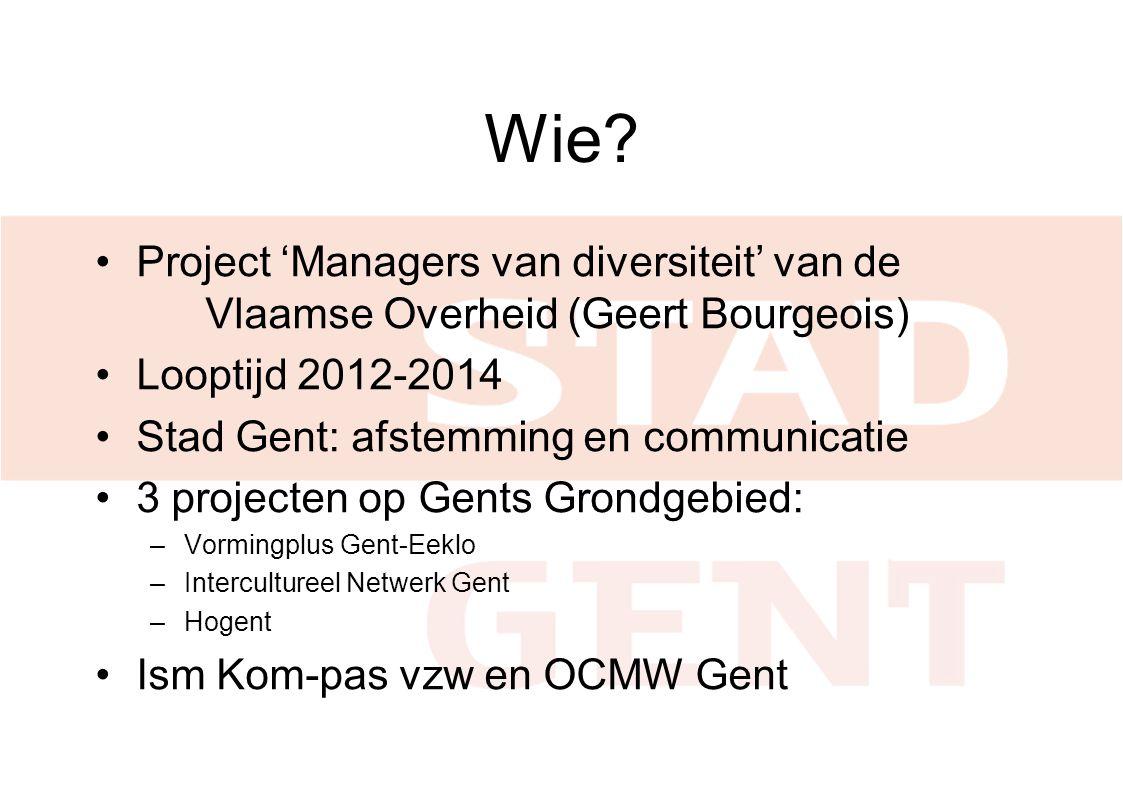 Wie? Project 'Managers van diversiteit' van de Vlaamse Overheid (Geert Bourgeois) Looptijd 2012-2014 Stad Gent: afstemming en communicatie 3 projecten