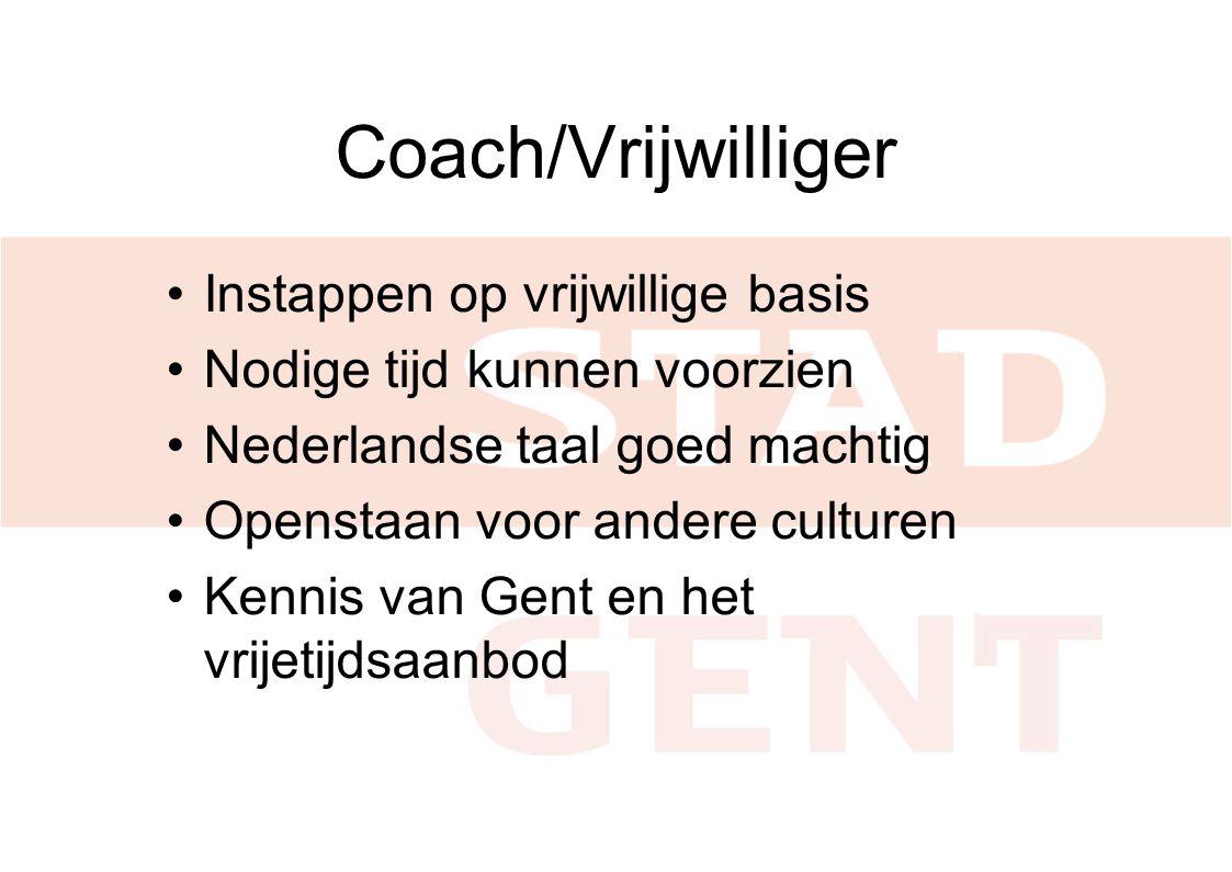Coach/Vrijwilliger Instappen op vrijwillige basis Nodige tijd kunnen voorzien Nederlandse taal goed machtig Openstaan voor andere culturen Kennis van Gent en het vrijetijdsaanbod