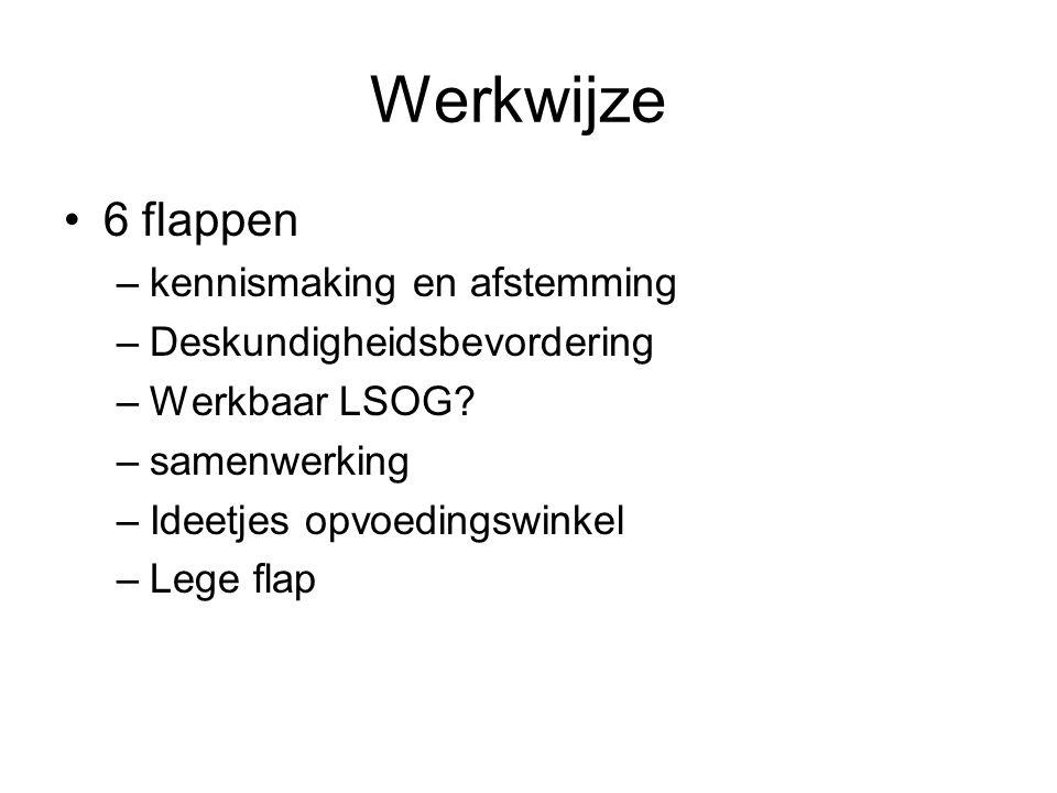 Werkwijze 6 flappen –kennismaking en afstemming –Deskundigheidsbevordering –Werkbaar LSOG.