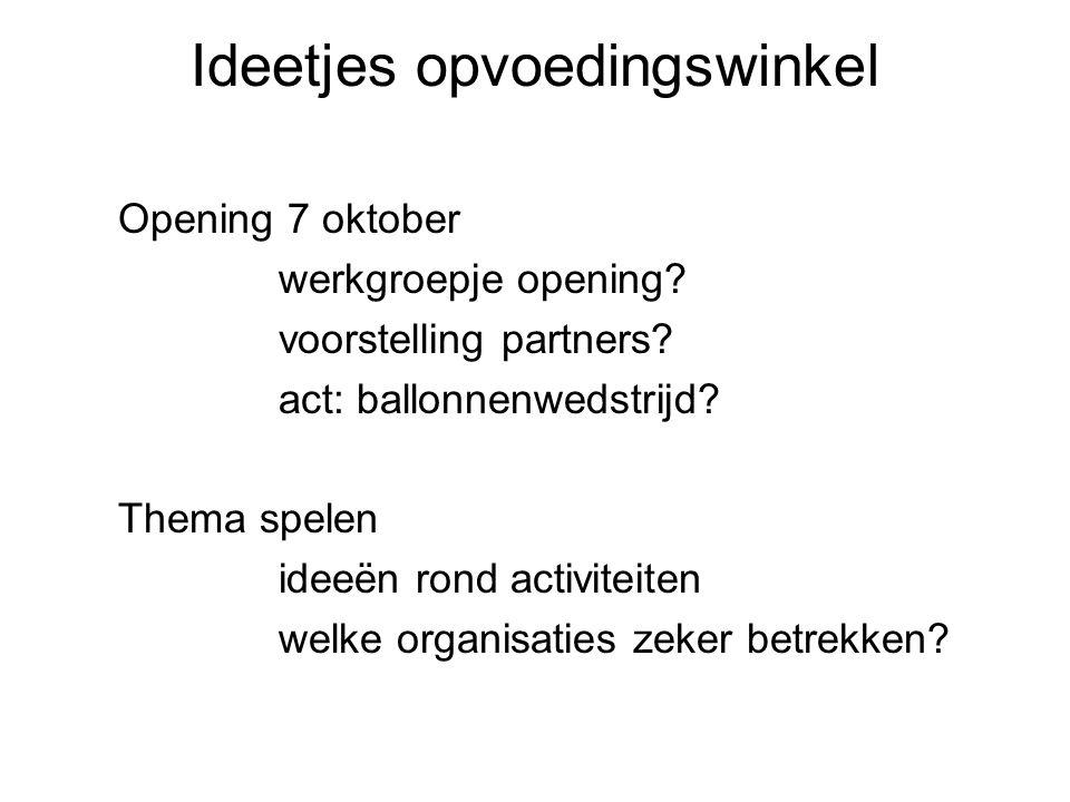 Ideetjes opvoedingswinkel Opening 7 oktober werkgroepje opening.