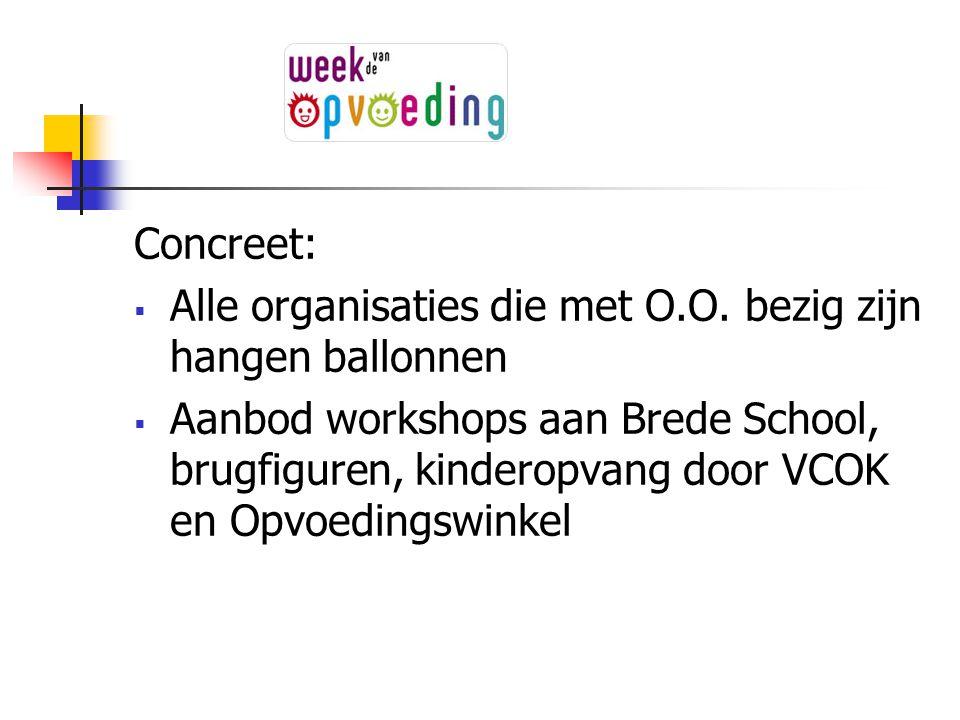 Concreet:  Alle organisaties die met O.O. bezig zijn hangen ballonnen  Aanbod workshops aan Brede School, brugfiguren, kinderopvang door VCOK en Opv