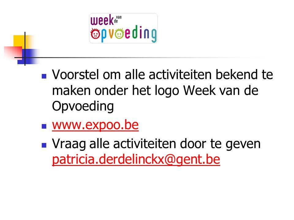 Voorstel om alle activiteiten bekend te maken onder het logo Week van de Opvoeding www.expoo.be Vraag alle activiteiten door te geven patricia.derdeli