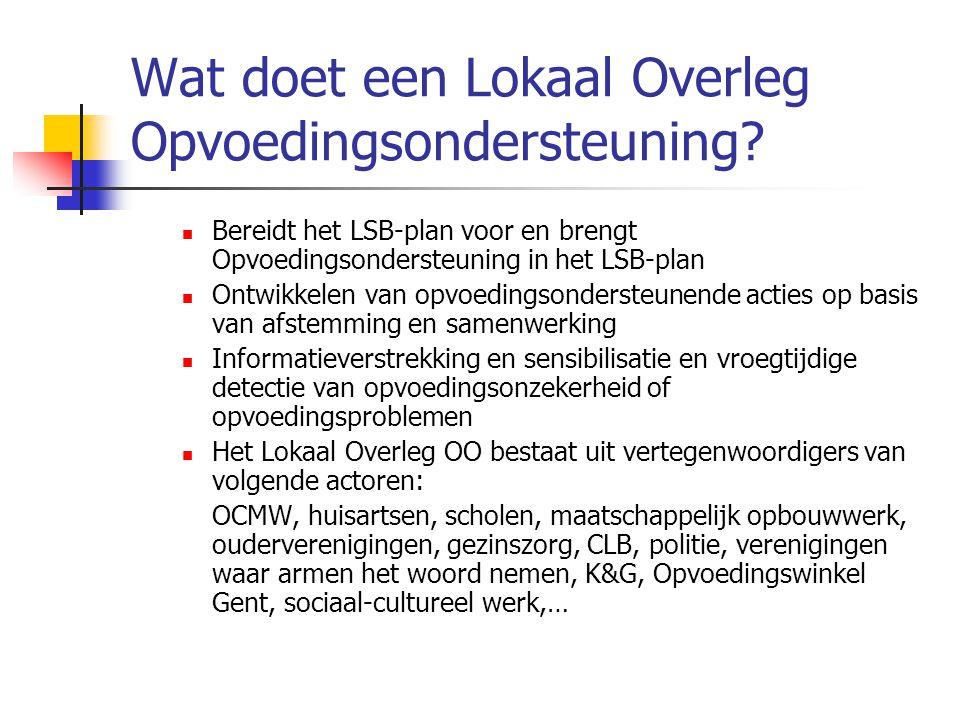 Wat doet een Lokaal Overleg Opvoedingsondersteuning? Bereidt het LSB-plan voor en brengt Opvoedingsondersteuning in het LSB-plan Ontwikkelen van opvoe