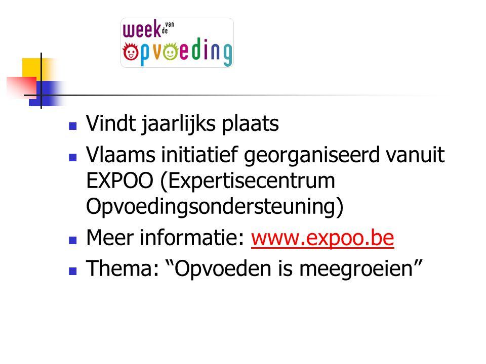Vindt jaarlijks plaats Vlaams initiatief georganiseerd vanuit EXPOO (Expertisecentrum Opvoedingsondersteuning) Meer informatie: www.expoo.bewww.expoo.