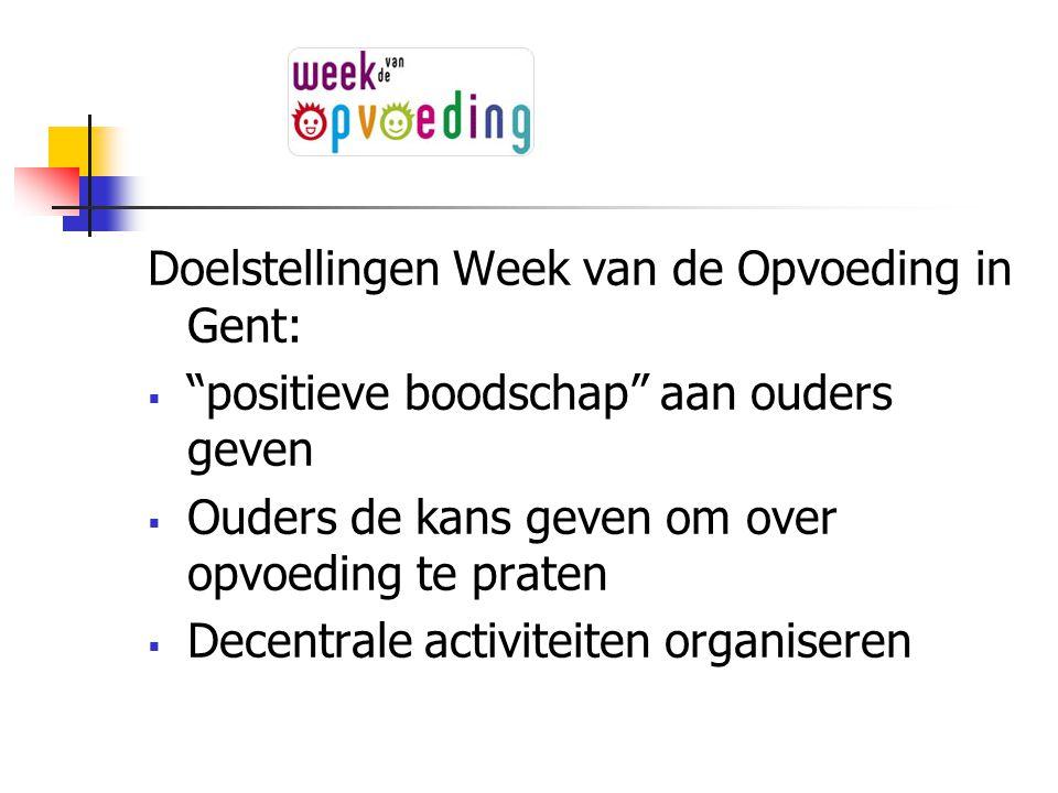 """Doelstellingen Week van de Opvoeding in Gent:  """"positieve boodschap"""" aan ouders geven  Ouders de kans geven om over opvoeding te praten  Decentrale"""