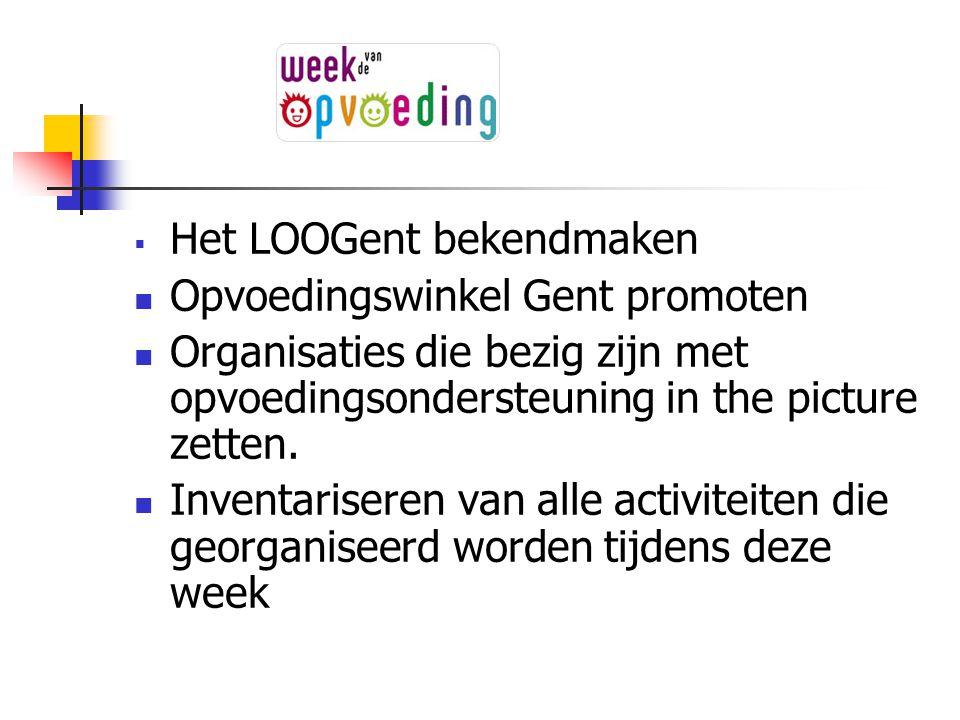  Het LOOGent bekendmaken Opvoedingswinkel Gent promoten Organisaties die bezig zijn met opvoedingsondersteuning in the picture zetten. Inventariseren