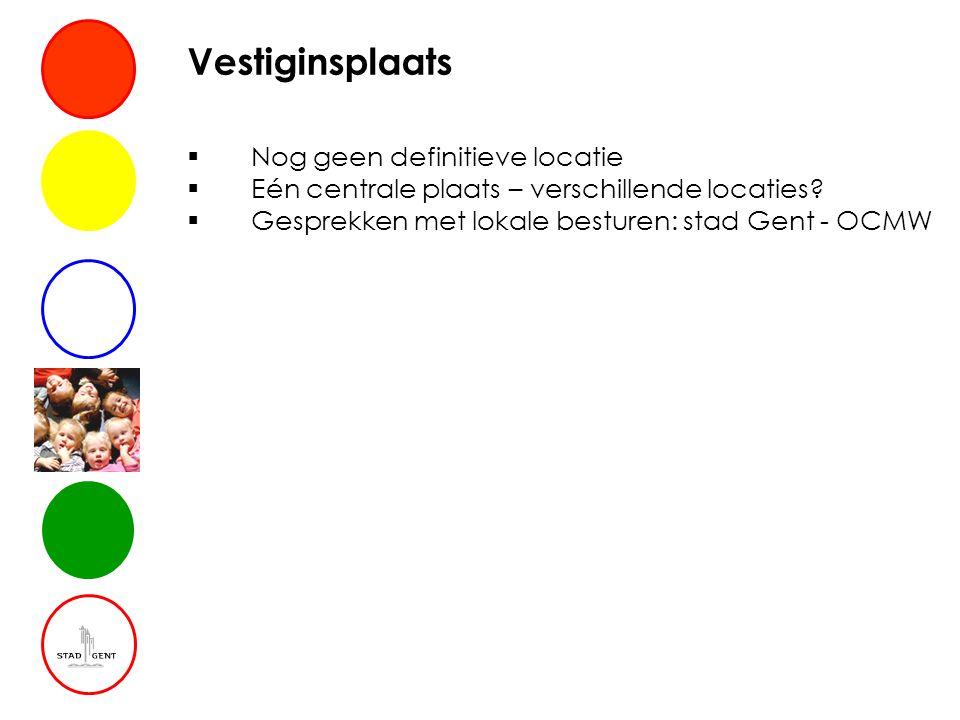 Vestiginsplaats  Nog geen definitieve locatie  Eén centrale plaats – verschillende locaties?  Gesprekken met lokale besturen: stad Gent - OCMW