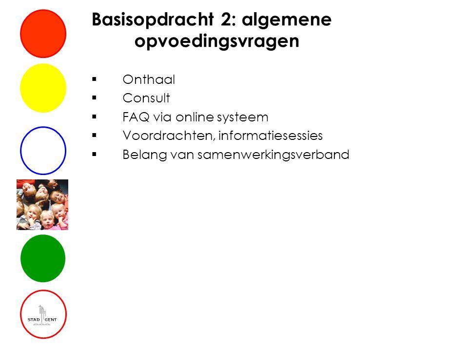Basisopdracht 2: algemene opvoedingsvragen  Onthaal  Consult  FAQ via online systeem  Voordrachten, informatiesessies  Belang van samenwerkingsverband