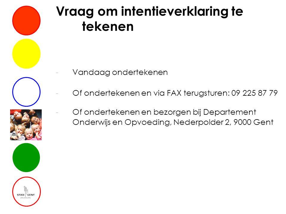 Vraag om intentieverklaring te tekenen -Vandaag ondertekenen -Of ondertekenen en via FAX terugsturen: 09 225 87 79 -Of ondertekenen en bezorgen bij Departement Onderwijs en Opvoeding, Nederpolder 2, 9000 Gent