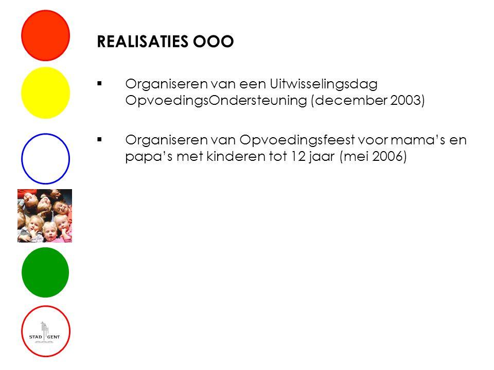 REALISATIES OOO  Organiseren van een Uitwisselingsdag OpvoedingsOndersteuning (december 2003)  Organiseren van Opvoedingsfeest voor mama's en papa's met kinderen tot 12 jaar (mei 2006)