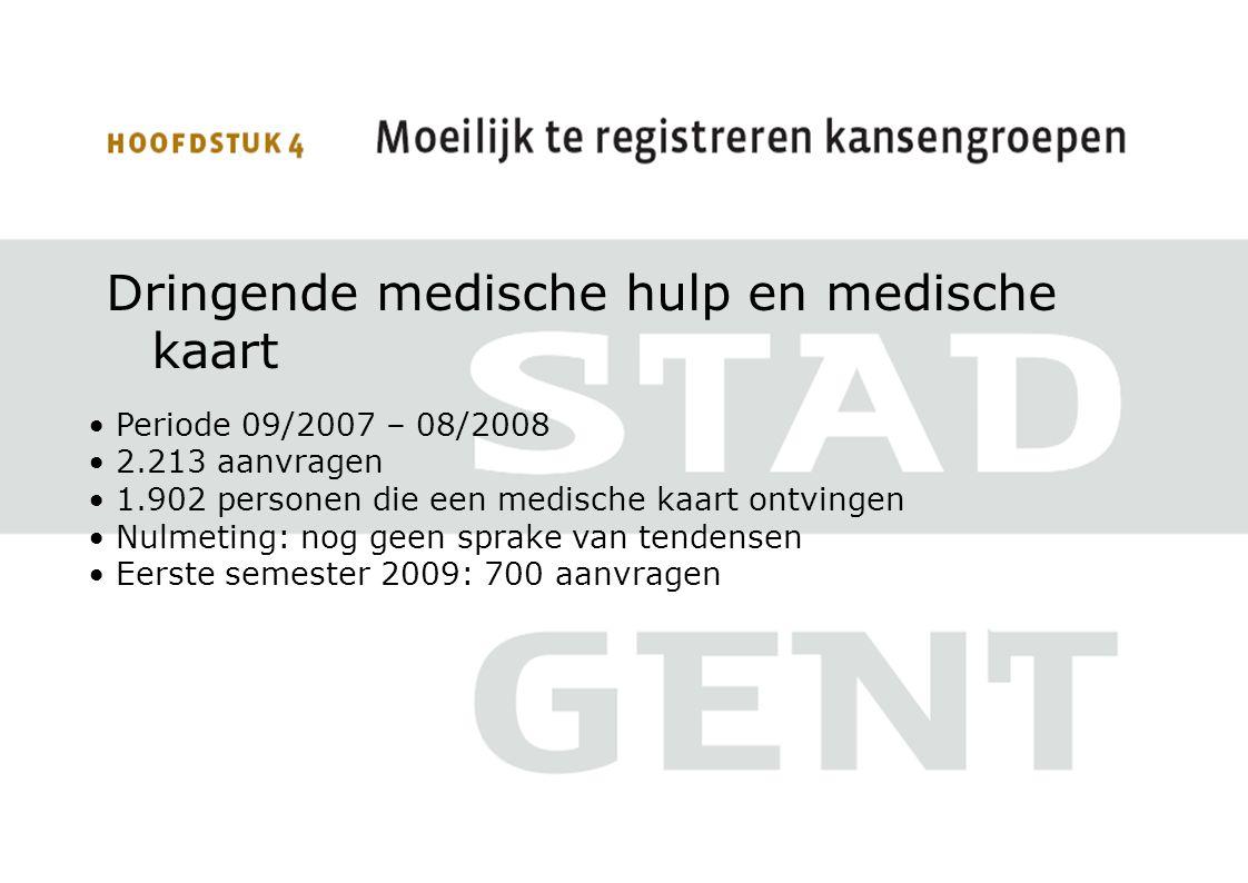 Dringende medische hulp en medische kaart Periode 09/2007 – 08/2008 2.213 aanvragen 1.902 personen die een medische kaart ontvingen Nulmeting: nog gee