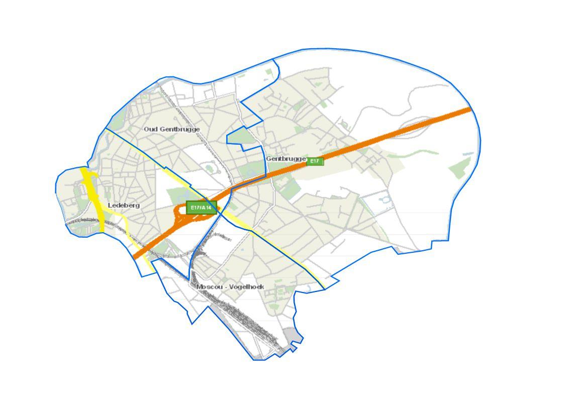 Bebouwde oppervlakte of bebouwingsgraad= Som bebouwde oppervlakte Totale oppervlakte Gent: 12% Op wijkniveau schommelt dit tussen 4% en 46% Ledeberg: 31% Oud Gentbrugge: 31% Moscou-Vogelhoek: 25% Gentbrugge: 9% Een hoog percentage wijst op een 'dense' wijk, met veel bebouwing.