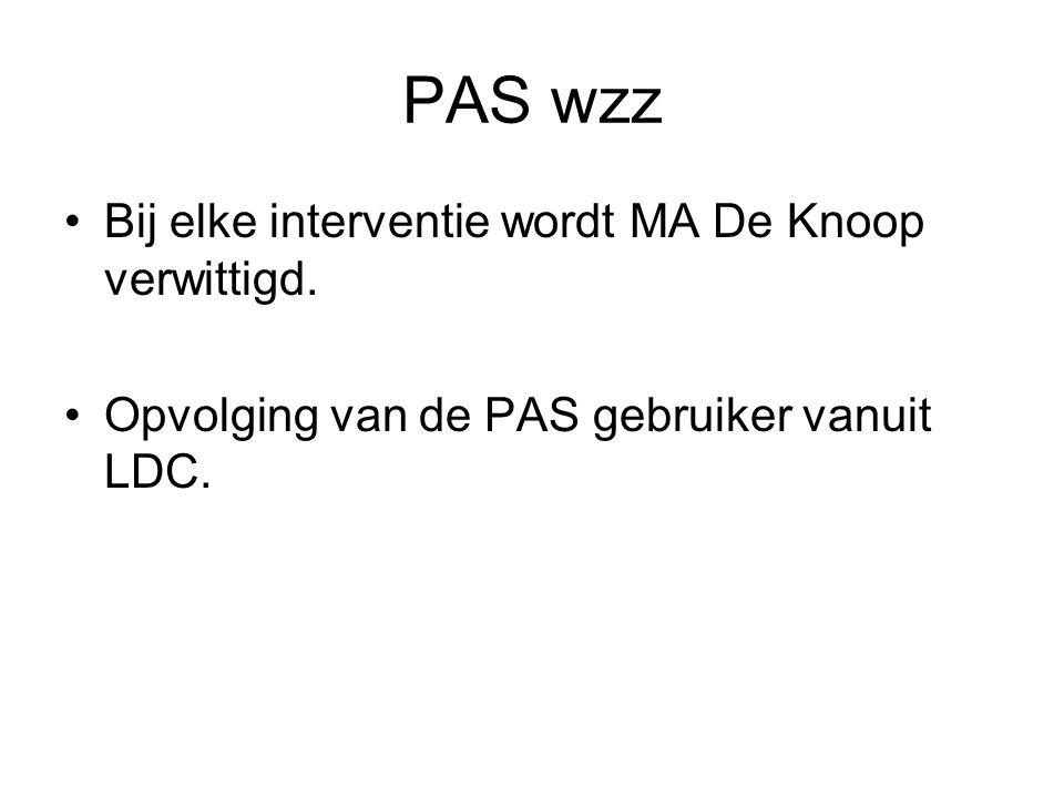 PAS wzz Bij elke interventie wordt MA De Knoop verwittigd.