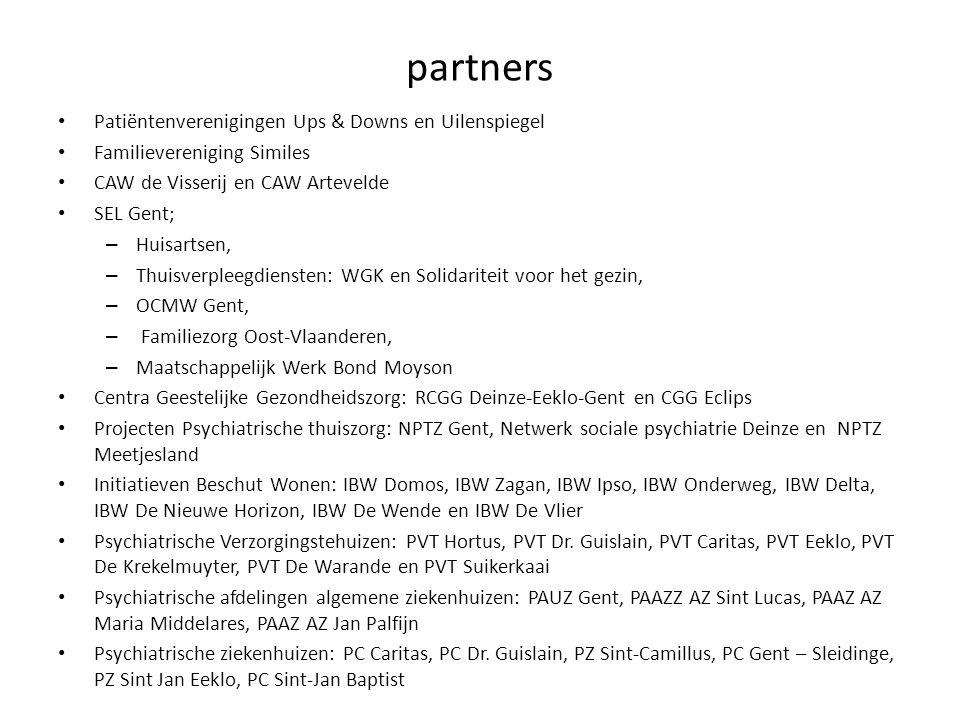 partners Patiëntenverenigingen Ups & Downs en Uilenspiegel Familievereniging Similes CAW de Visserij en CAW Artevelde SEL Gent; – Huisartsen, – Thuisv