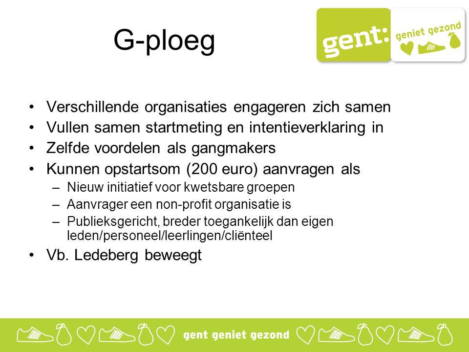 G-ploeg Verschillende organisaties engageren zich samen Vullen samen startmeting en intentieverklaring in Zelfde voordelen als gangmakers Kunnen opsta