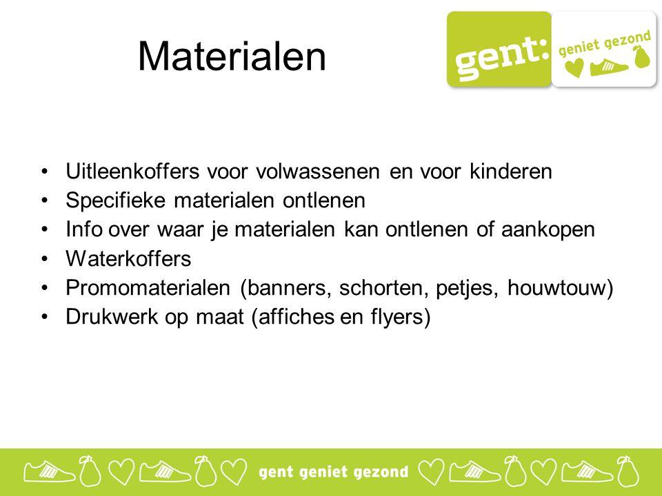 Materialen Uitleenkoffers voor volwassenen en voor kinderen Specifieke materialen ontlenen Info over waar je materialen kan ontlenen of aankopen Water