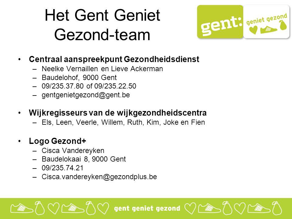 Het Gent Geniet Gezond-team Centraal aanspreekpunt Gezondheidsdienst –Neelke Vernaillen en Lieve Ackerman –Baudelohof, 9000 Gent –09/235.37.80 of 09/235.22.50 –gentgenietgezond@gent.be Wijkregisseurs van de wijkgezondheidscentra –Els, Leen, Veerle, Willem, Ruth, Kim, Joke en Fien Logo Gezond+ –Cisca Vandereyken –Baudelokaai 8, 9000 Gent –09/235.74.21 –Cisca.vandereyken@gezondplus.be