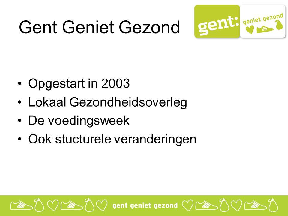 Gent Geniet Gezond Opgestart in 2003 Lokaal Gezondheidsoverleg De voedingsweek Ook stucturele veranderingen