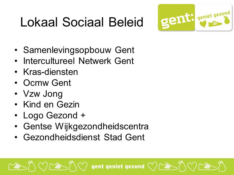 Lokaal Sociaal Beleid Samenlevingsopbouw Gent Intercultureel Netwerk Gent Kras-diensten Ocmw Gent Vzw Jong Kind en Gezin Logo Gezond + Gentse Wijkgezondheidscentra Gezondheidsdienst Stad Gent