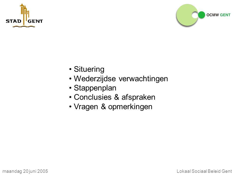 maandag 20 juni 2005Lokaal Sociaal Beleid Gent SITUERING decreet Goedkeuring decreet op 19 maart 2004 Toegang tot sociale grondrechten Arbeid Sociale zekerheid Huisvesting Leefmilieu Culturele ontplooiing Maatschappelijke ontplooiing Onderwijs