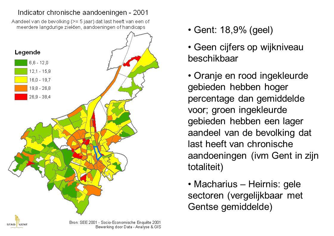 Gent: 18,9% (geel) Geen cijfers op wijkniveau beschikbaar Oranje en rood ingekleurde gebieden hebben hoger percentage dan gemiddelde voor; groen ingekleurde gebieden hebben een lager aandeel van de bevolking dat last heeft van chronische aandoeningen (ivm Gent in zijn totaliteit) Macharius – Heirnis: gele sectoren (vergelijkbaar met Gentse gemiddelde)