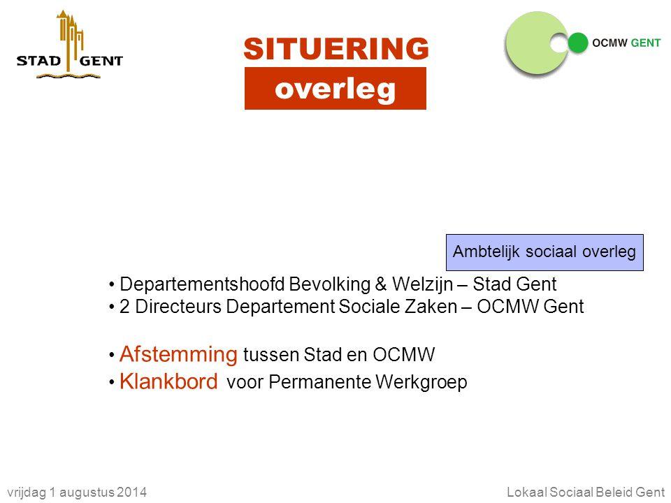 vrijdag 1 augustus 2014Lokaal Sociaal Beleid Gent SITUERING overleg Ambtelijk sociaal overleg Departementshoofd Bevolking & Welzijn – Stad Gent 2 Dire