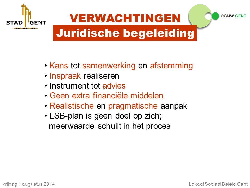 vrijdag 1 augustus 2014Lokaal Sociaal Beleid Gent VERWACHTINGEN Juridische begeleiding Kans tot samenwerking en afstemming Inspraak realiseren Instrum