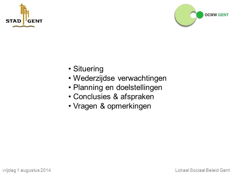 vrijdag 1 augustus 2014Lokaal Sociaal Beleid Gent Situering Wederzijdse verwachtingen Planning en doelstellingen Conclusies & afspraken Vragen & opmerkingen