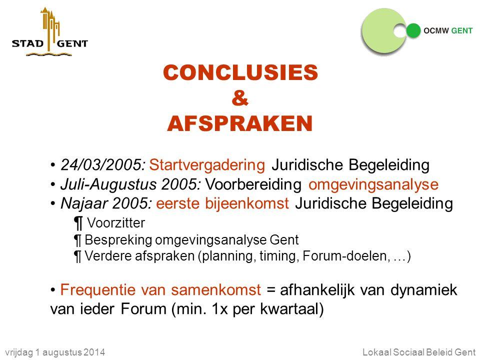 vrijdag 1 augustus 2014Lokaal Sociaal Beleid Gent CONCLUSIES & AFSPRAKEN 24/03/2005: Startvergadering Juridische Begeleiding Juli-Augustus 2005: Voorb