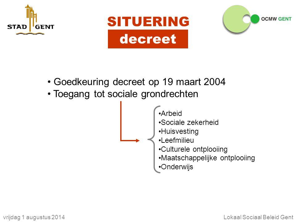 vrijdag 1 augustus 2014Lokaal Sociaal Beleid Gent SITUERING decreet Goedkeuring decreet op 19 maart 2004 Toegang tot sociale grondrechten Arbeid Socia