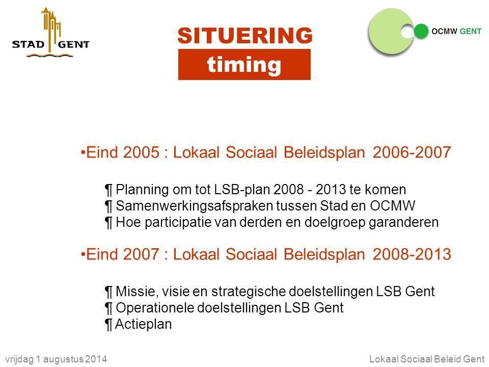vrijdag 1 augustus 2014Lokaal Sociaal Beleid Gent SITUERING timing Eind 2005 : Lokaal Sociaal Beleidsplan 2006-2007 ¶ Planning om tot LSB-plan 2008 -