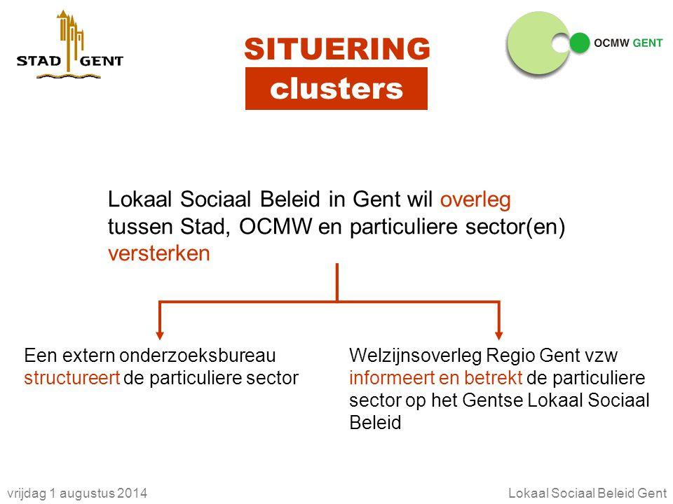 vrijdag 1 augustus 2014Lokaal Sociaal Beleid Gent clusters SITUERING Lokaal Sociaal Beleid in Gent wil overleg tussen Stad, OCMW en particuliere secto
