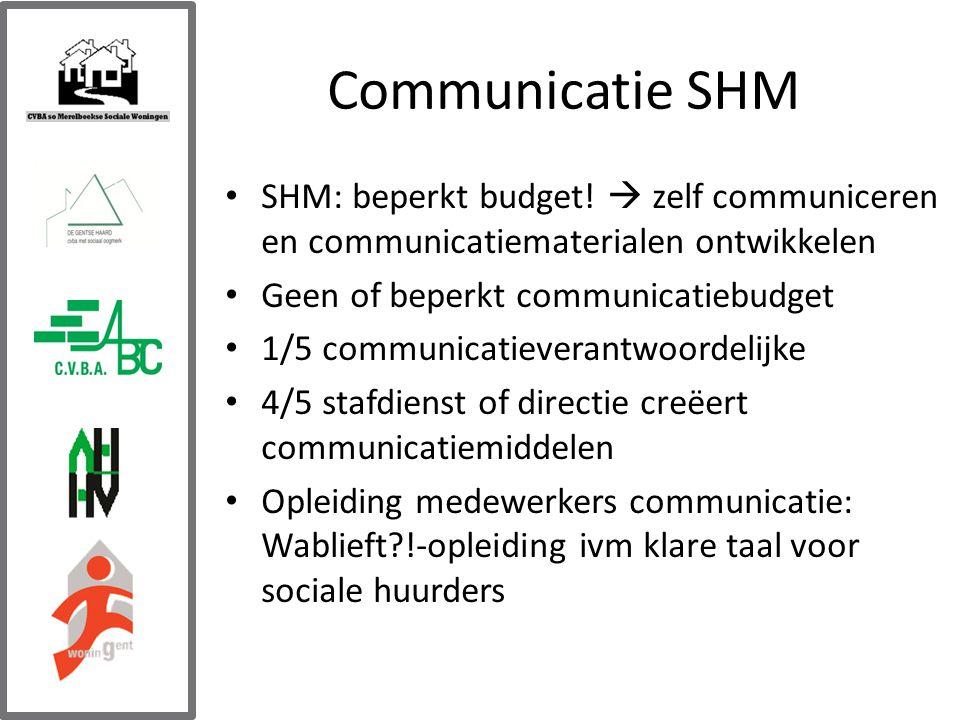 Communicatie SHM SHM: beperkt budget.