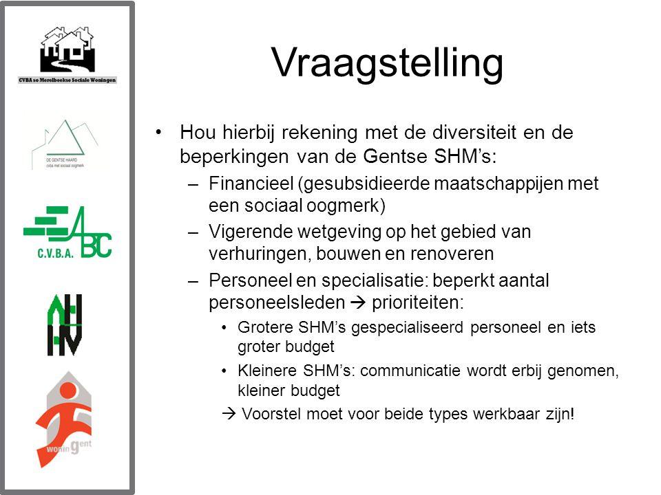 Vraagstelling Hou hierbij rekening met de diversiteit en de beperkingen van de Gentse SHM's: –Financieel (gesubsidieerde maatschappijen met een sociaal oogmerk) –Vigerende wetgeving op het gebied van verhuringen, bouwen en renoveren –Personeel en specialisatie: beperkt aantal personeelsleden  prioriteiten: Grotere SHM's gespecialiseerd personeel en iets groter budget Kleinere SHM's: communicatie wordt erbij genomen, kleiner budget  Voorstel moet voor beide types werkbaar zijn!