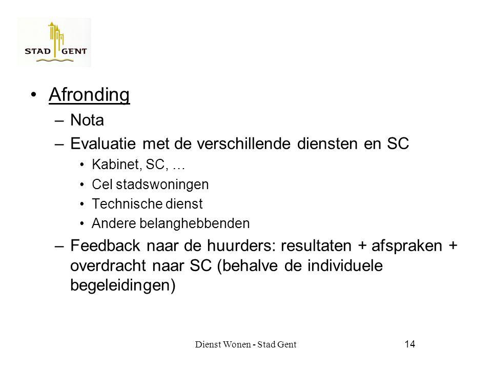 Dienst Wonen - Stad Gent14 Afronding –Nota –Evaluatie met de verschillende diensten en SC Kabinet, SC, … Cel stadswoningen Technische dienst Andere belanghebbenden –Feedback naar de huurders: resultaten + afspraken + overdracht naar SC (behalve de individuele begeleidingen)