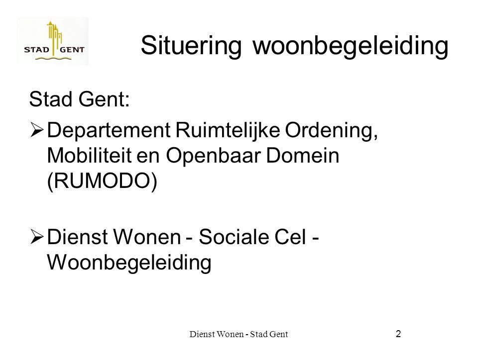 Dienst Wonen - Stad Gent2 Situering woonbegeleiding Stad Gent:  Departement Ruimtelijke Ordening, Mobiliteit en Openbaar Domein (RUMODO)  Dienst Wonen - Sociale Cel - Woonbegeleiding