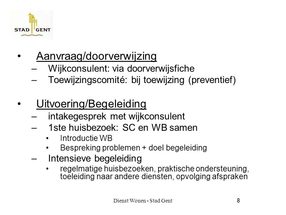 Dienst Wonen - Stad Gent8 Aanvraag/doorverwijzing –Wijkconsulent: via doorverwijsfiche –Toewijzingscomité: bij toewijzing (preventief) Uitvoering/Begeleiding –intakegesprek met wijkconsulent –1ste huisbezoek: SC en WB samen Introductie WB Bespreking problemen + doel begeleiding –Intensieve begeleiding regelmatige huisbezoeken, praktische ondersteuning, toeleiding naar andere diensten, opvolging afspraken