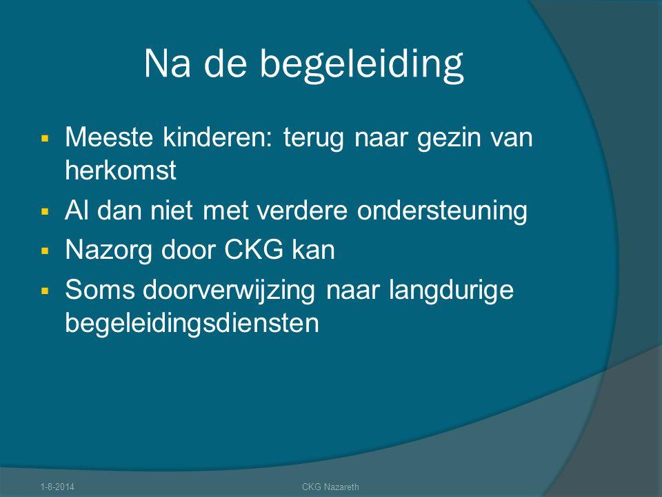 Na de begeleiding  Meeste kinderen: terug naar gezin van herkomst  Al dan niet met verdere ondersteuning  Nazorg door CKG kan  Soms doorverwijzing