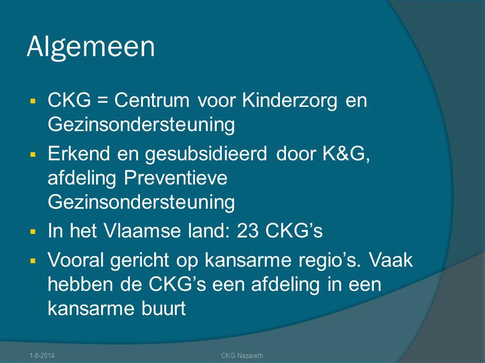 Algemeen  CKG = Centrum voor Kinderzorg en Gezinsondersteuning  Erkend en gesubsidieerd door K&G, afdeling Preventieve Gezinsondersteuning  In het