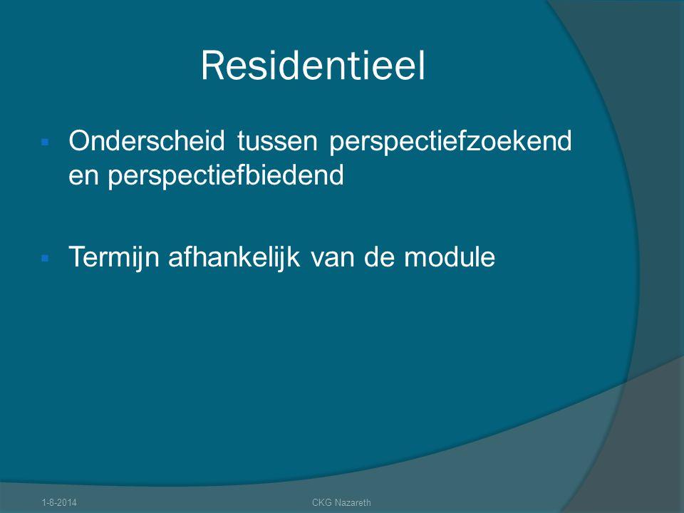 Residentieel  Onderscheid tussen perspectiefzoekend en perspectiefbiedend  Termijn afhankelijk van de module 1-8-2014CKG Nazareth