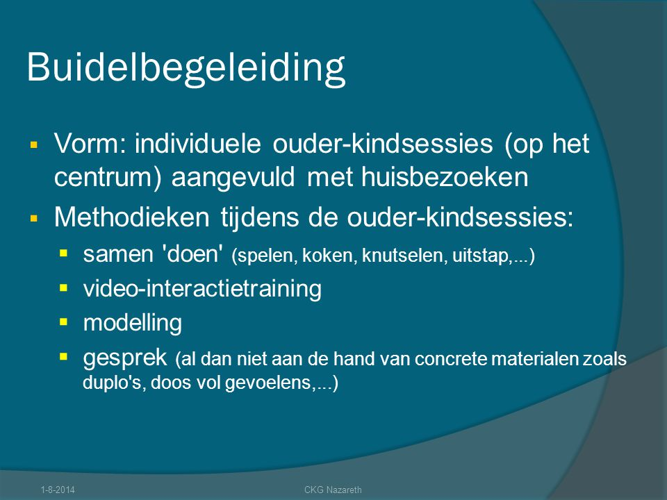 Buidelbegeleiding  Vorm: individuele ouder-kindsessies (op het centrum) aangevuld met huisbezoeken  Methodieken tijdens de ouder-kindsessies:  same