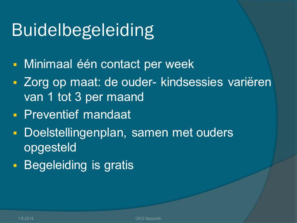 Buidelbegeleiding  Minimaal één contact per week  Zorg op maat: de ouder- kindsessies variëren van 1 tot 3 per maand  Preventief mandaat  Doelstel