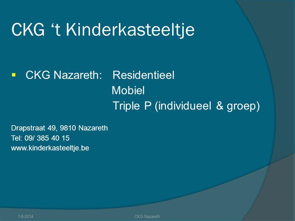 CKG 't Kinderkasteeltje  CKG Nazareth:Residentieel Mobiel Triple P (individueel & groep) Drapstraat 49, 9810 Nazareth Tel: 09/ 385 40 15 www.kinderka